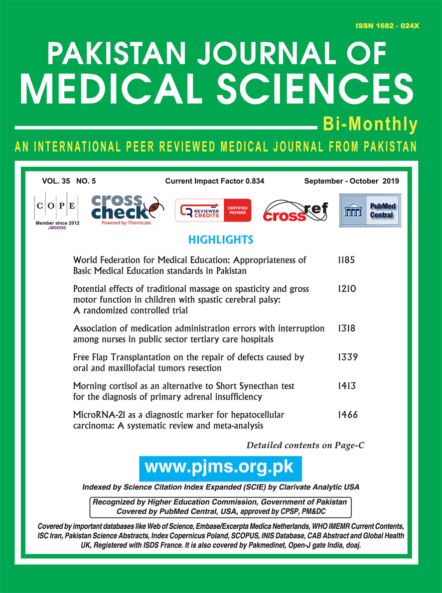Pakistan Journal of Medical Sciences